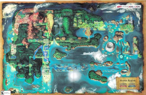 Pokémon Rubino Omega e Zaffiro Alpha: svelata la mappa di gioco