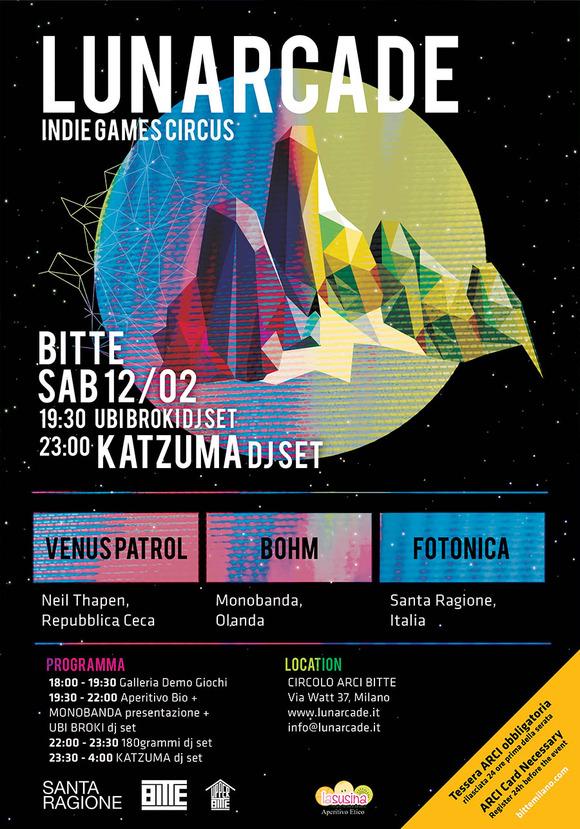 LUNARCADE,  evento indie a Milano il 12 Febbraio