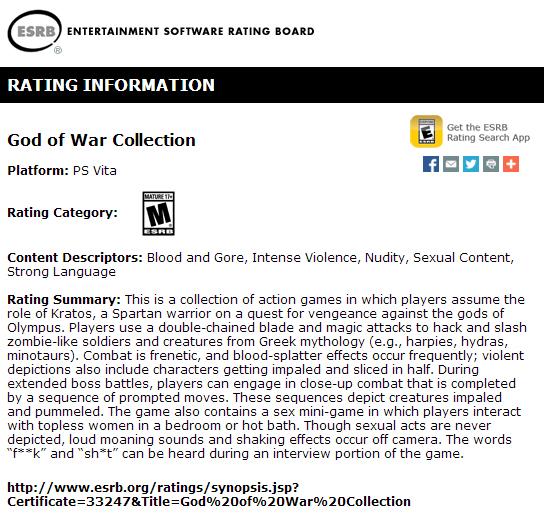 God of War Collection: la versione PS Vita compare sul sito ESRB