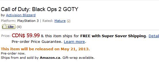 Call of Duty: Black Ops 2, su Amazon compare la GOTY