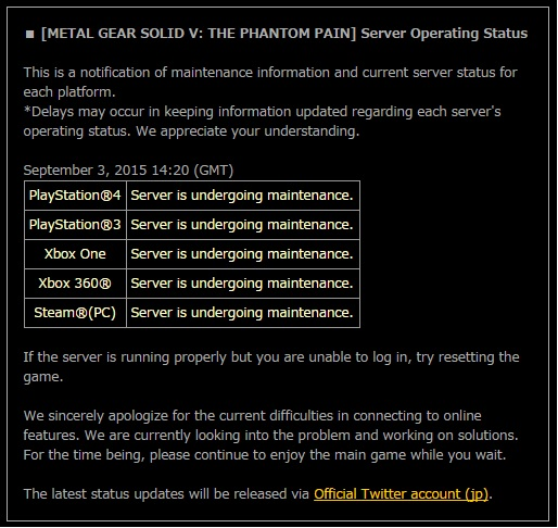 [Aggiornata] Metal Gear Solid V The Phantom Pain: server offline per manutenzione