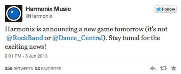 Harmonix annuncerà un nuovo gioco domani