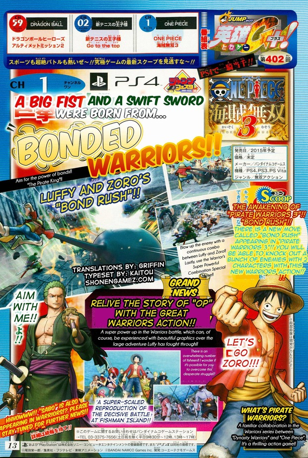 One Piece Pirate Warriors 3: nuove informazioni da Shonen Jump