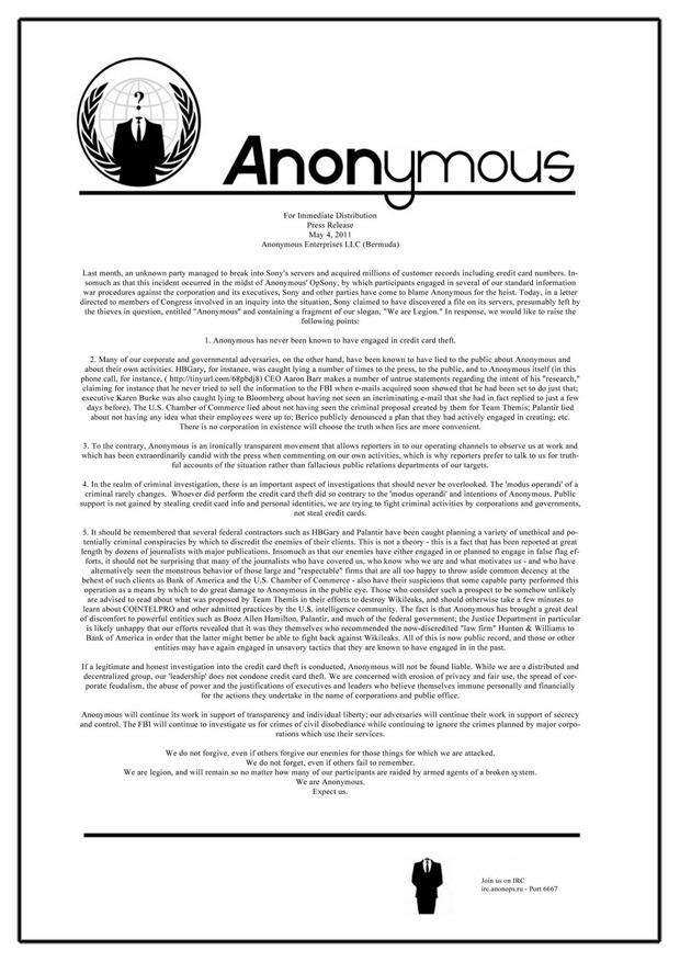 PSN Gate: Anonymous nega il coinvolgimento nel furto dei numeri delle carte di credito