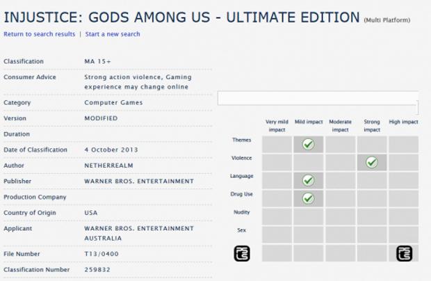 Injustice: Gods Among Us Ultimate Edition valutato dall'ente di classificazione australiano