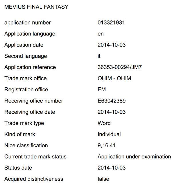 Square Enix registra il marchio Mevius Final Fantasy in Europa