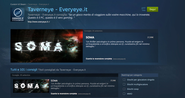Curatori di Steam: segui Taverneye, la pagina ufficiale di Everyeye.it