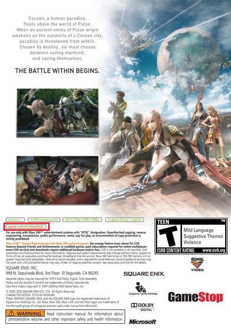 Final Fantasy XIII, il retro della copertina svela possibili DLC