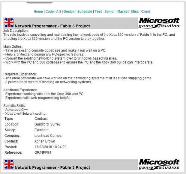 Fable 3 anche su PC ?