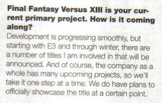 Final Fantasy Versus XIII non sarà all'E3 2010