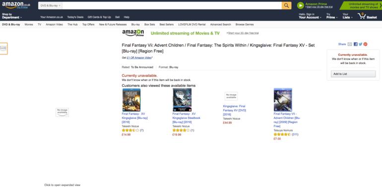 Su Amazon UK compare la collezione dei film dedicati a Final Fantasy