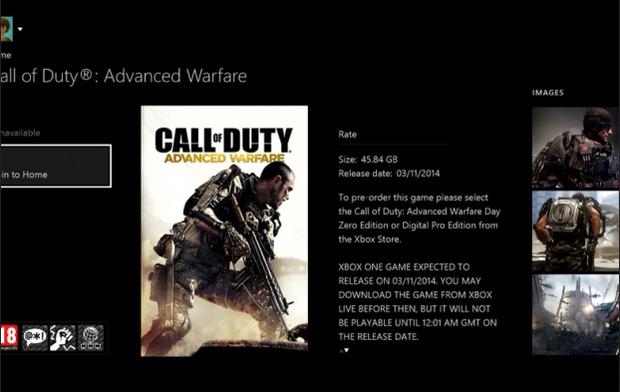 Call of Duty Advanced Warfare occuperà 45.84 GB su Xbox One