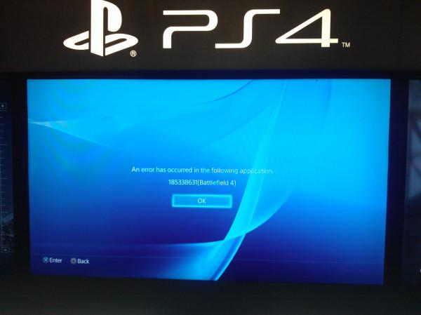 PlayStation 4: schermata di errore dopo l'avvio di Battlefield 4