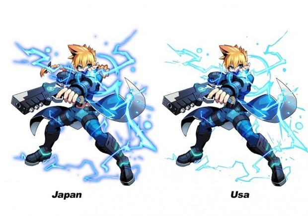 Azure Striker Gunvolt: piccole differenze del design tra la versione giapponese e americana