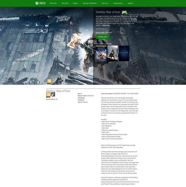 Destiny Rise of Iron compare (e scompare) su Xbox Store