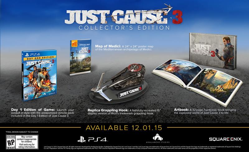 La Collector's Edition di Just Cause 3 include una replica del rampino di Rico