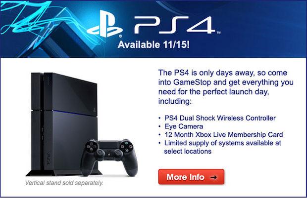 PlayStation 4: GameStop consiglia l'abbonamento Xbox LIVE tra gli accessori indispensabili