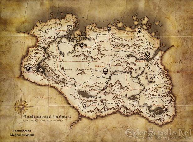 The Elder Scrolls V: la mappa di Skyrim