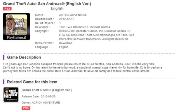 GTA San Andreas arriverà il 12 dicembre sul PSN?
