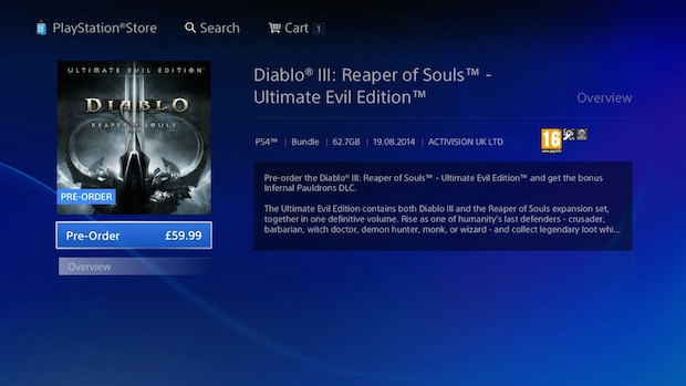 Diablo III Ultimate Evil Edition: l'edizione digitale europea per PS4 pesa 62.7 GB
