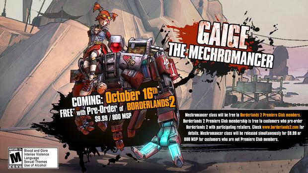 Borderlands 2: confermata la data di uscita del DLC 'Mechromancer'