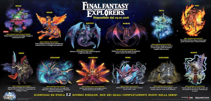 Final Fantasy Explorers: alla scoperta dei 12 Eidolon