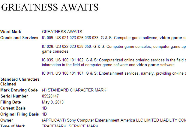 "Sony registra ""Greatness Awaits"". E' questo lo slogan della PS4?"