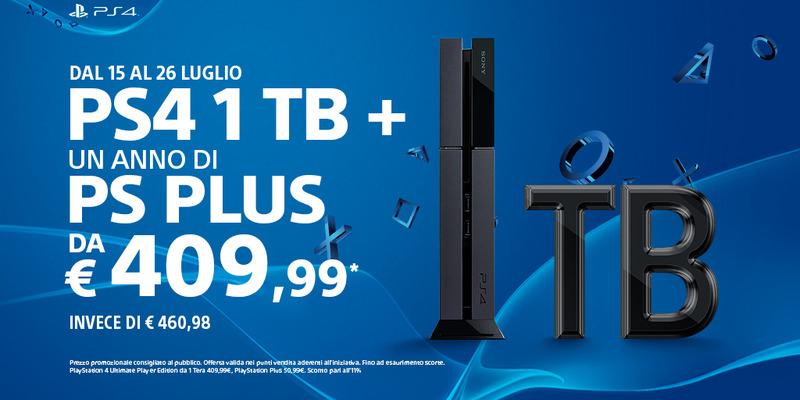 PlayStation 4 con hard disk da 1 TB e un anno di abbonamento Plus a 409.99 euro fino al 26 luglio