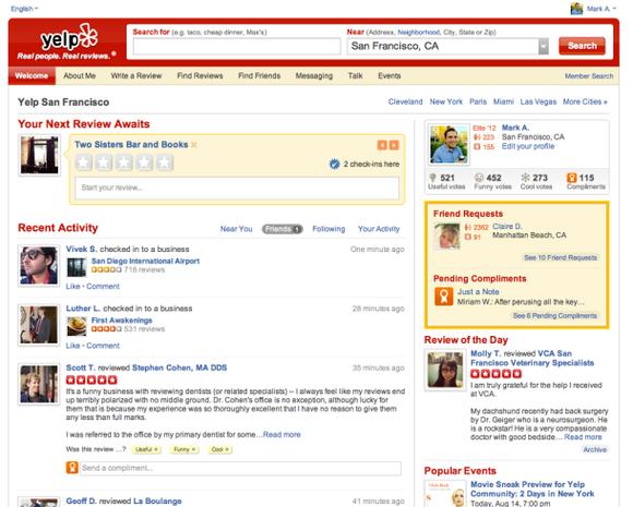 Il nuovo sito di Yelp mette in luce le relazioni sociali