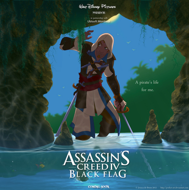 Assassin's Creed 4 Black Flag: poster in stile Disney