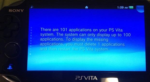 PlayStation Vita può contenere solo 100 applicazioni, indipendentemente dallo spazio disponibile sulla memory card
