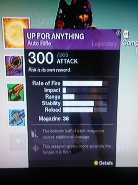 Un giocatore di Destiny scopre un'arma con valori più alti del normale