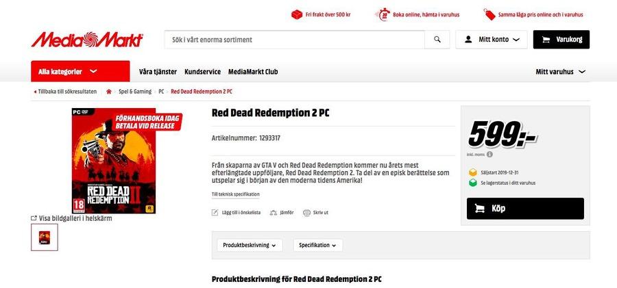 Red Dead Redemption 2 per PC appare nel listino di Media Markt