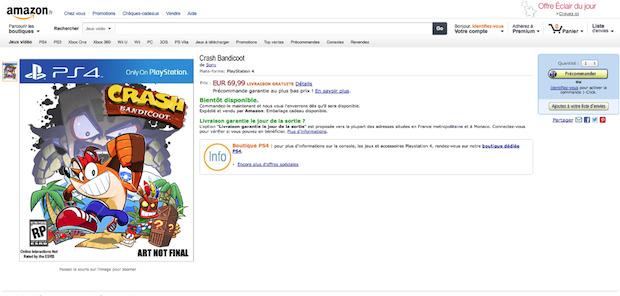 Crash Bandicoot per PlayStation 4 su Amazon France