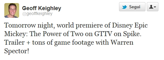 Geoff Keighley conferma Disney Epic Mickey: The Power of Two