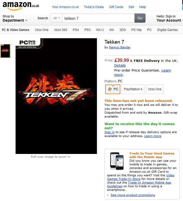Tekken 7, Amazon conferma le piattaforme: PC, PlayStation 4 e Xbox One?