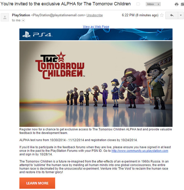 The Tomorrow Children: spediti i primi inviti per la fase alpha