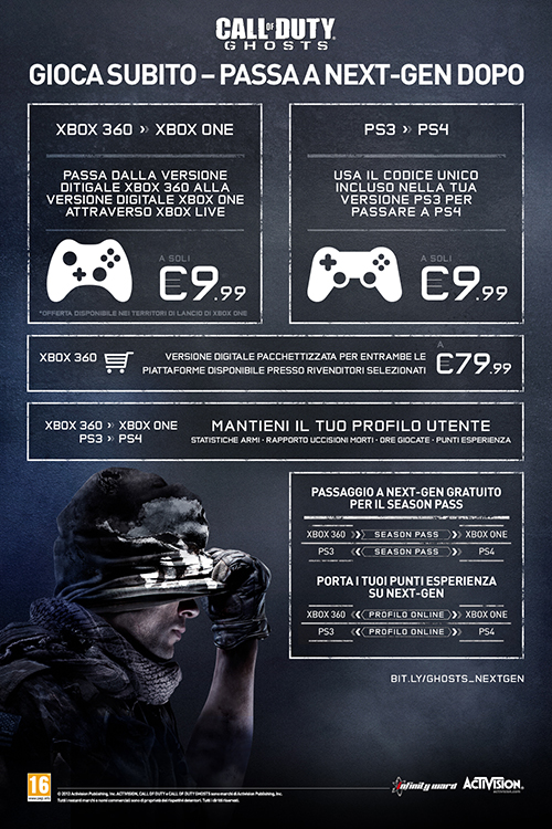 Call of Duty: Ghosts - Infografica relativa all'upgrade a next gen console