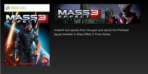 Mass Effect 3: il DLC From Ashes appare per errore su Xbox Live (Spoiler)