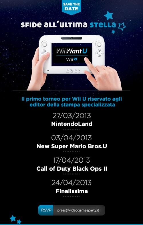 Nintendo vi invita a 'Wii Want U', il torneo riservato ai giornalisti della stampa su console Nintendo Wii U.