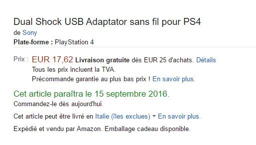 Amazon Francia potrebbe aver svelato l'adattatore wireless USB per DualShock 4