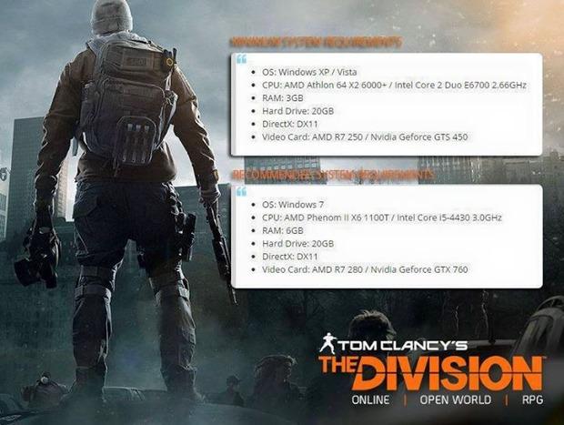 Trapelano in rete i requisiti per la versione PC di The Division