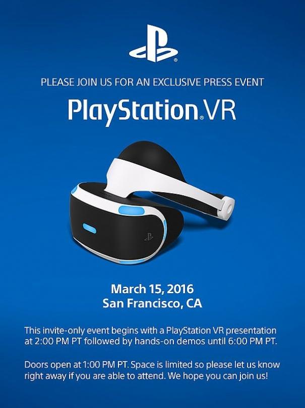 PlayStation VR: evento stampa in programma il 15 marzo