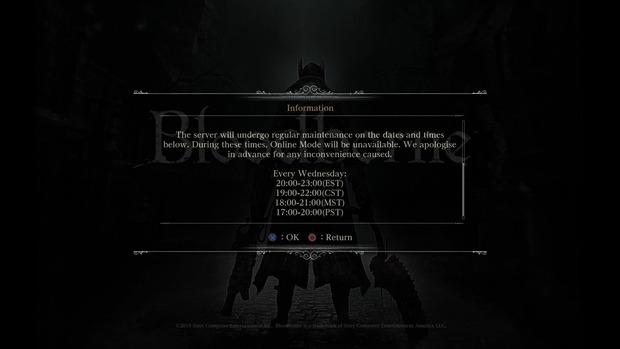 I server di Bloodborne andranno offline ogni mercoledì per tre ore