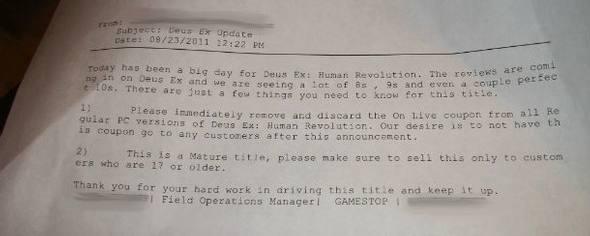 Negli USA Gamestop rimuove il codice per ottenere una copia Onlive di Deus Ex Human Revolution