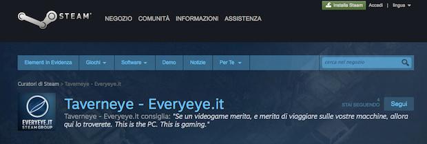 Curatori di Steam: segui Taverneye, la pagina ufficiale di Everyeye.it - Notizia