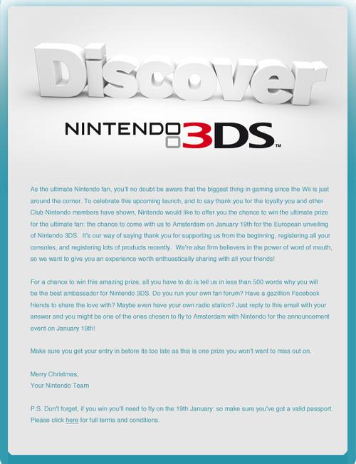 Nintendo Europa invita alcuni fan alla presentazione del Nintendo 3DS del 19 Gennaio