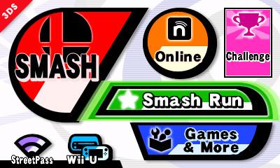Super Smash Bros: menu principale della versione 3DS