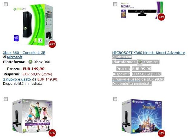Amazon.it: Promozioni dedicate alle console Xbox 360 e a Microsoft Kinect