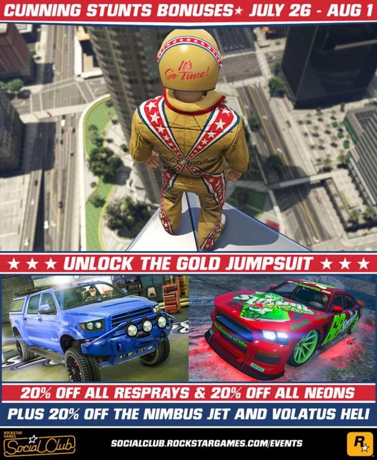 GTA Online: Nuovi contenuti per Stunt da Capogiro